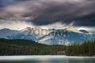 Dark clouds over Pyramid Lake