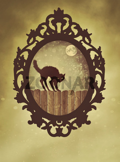 Ornate black frame with halloween cat