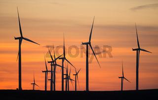 Wind Turbines High Hill Green Energy Generate Power Sunset