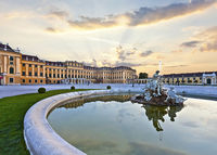 Front of the Schoenbrunn Palace in Vienna at sunset - Austria.