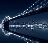 New York City, Brooklyn Bridge at night in blue tones