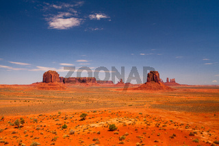 Iconic peaks of rock formations in the Navajo Park of Monument Valley