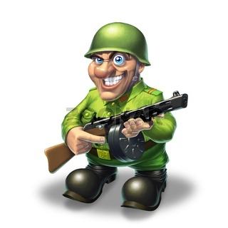 Soldier with machine gun