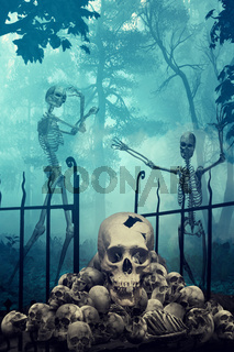 Skulls and Skeletons in creepy graveyard