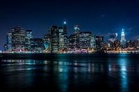 Manhattan at night in cold tones