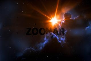 nebula with sun