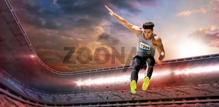 Composite image of sportsman jumping on a white background