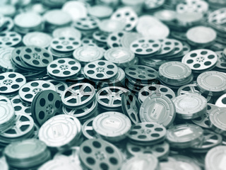 Films collection. Movie video reels background.