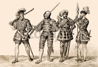 English soldiers costumes, 16th century