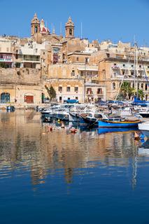 The view of Senglea peninsula over the Dockyard creek. Malta.