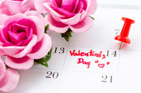 Calendar showing the date 14th of February, the Valentines Day.