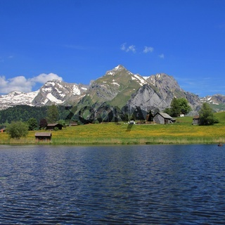 Alpstein Range and lake Schwendisee