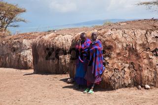 Maasai people in their village in Tanzania, Africa