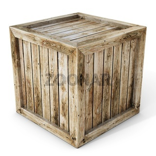 3d old wooden crate