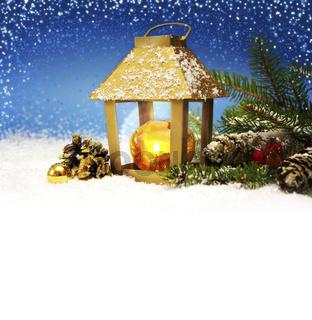 Christmas lantern and snow.