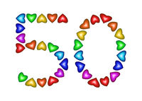 Number 50 made of multicolored hearts on white background