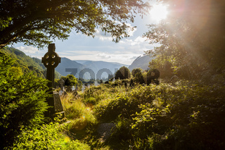 Old Celtic Cross in Glendalough, Wicklow mountain