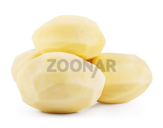 Raw peeled potatoes