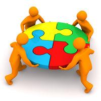 Teamwork 4 Manikins Circle Puzzle