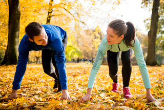 Competing couple prepared for run