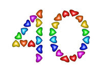 Number 40 made of multicolored hearts on white background
