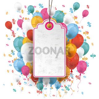 Price Sticker Balloons Percents Confetti