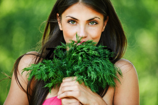 portrait beautiful young woman green dill