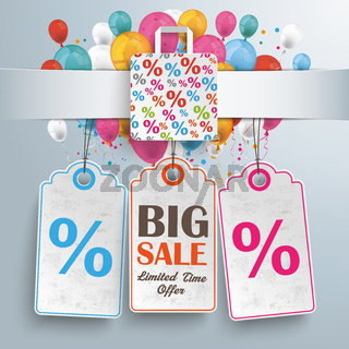Banner Percentage Shopping Bag Balloons Price Stickers