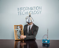 Information technology concept with businessman