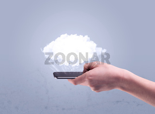 Hand holding phone with empty cloud
