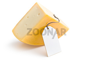 edam cheese with label