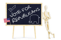 Propagandist encourages to vote for Republicans in US elections. Abstract image with a wooden puppet