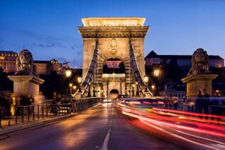 Szechenyi Chain Bridge in Budapest by Night