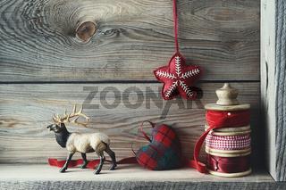 Christmas decorations on wood shelf