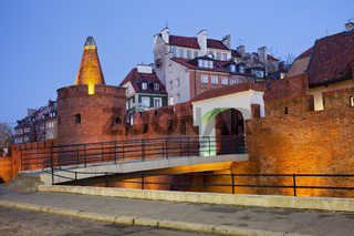 Old Town of Warsaw Fortification in the Evening