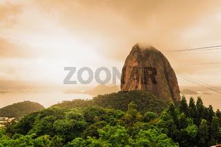 Evening view of Sugarloaf mountain Rio De Janerio Brazil