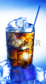 A fresh glass of cola with ice