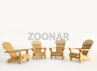 Four miniature adirondack chairs on white
