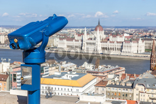 Observation deck with binoculars, view of Budapest city