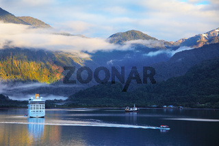 The tourist boat in the Chilean fjord