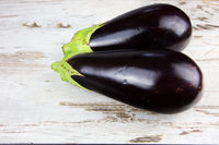 Two fresh eggplants