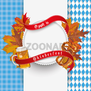 Oktoberfest Cloth Emblem Beer Foliage