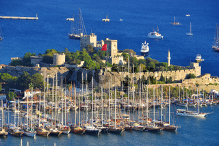 View of Bodrum harbor and Castle of St. Peter. Turkish Riviera.