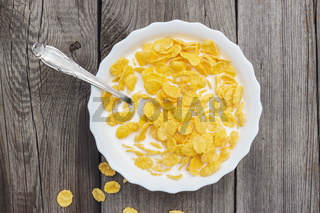 bowl of cornflakes on the table