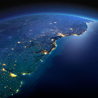 Detailed Earth. South America. Rio de La Plata on a moonlit night