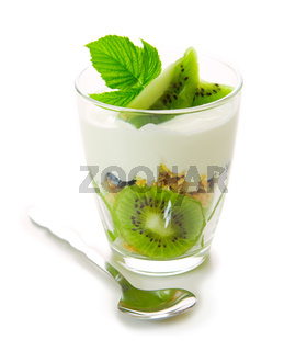 Fresh Yogurt with kiwi isolated.