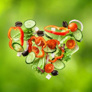 flying salad on natural green background