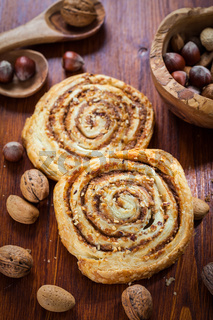 Homemade nut pastry on table