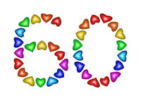 Number 60 made of multicolored hearts on white background