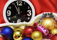 Clock and christmas balls and toys